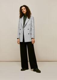 Oversized Wool Blazer Grey Marl