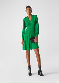 Short Button Through Dress Green