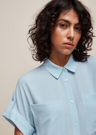 Textured Pocket Blouse Pale Blue