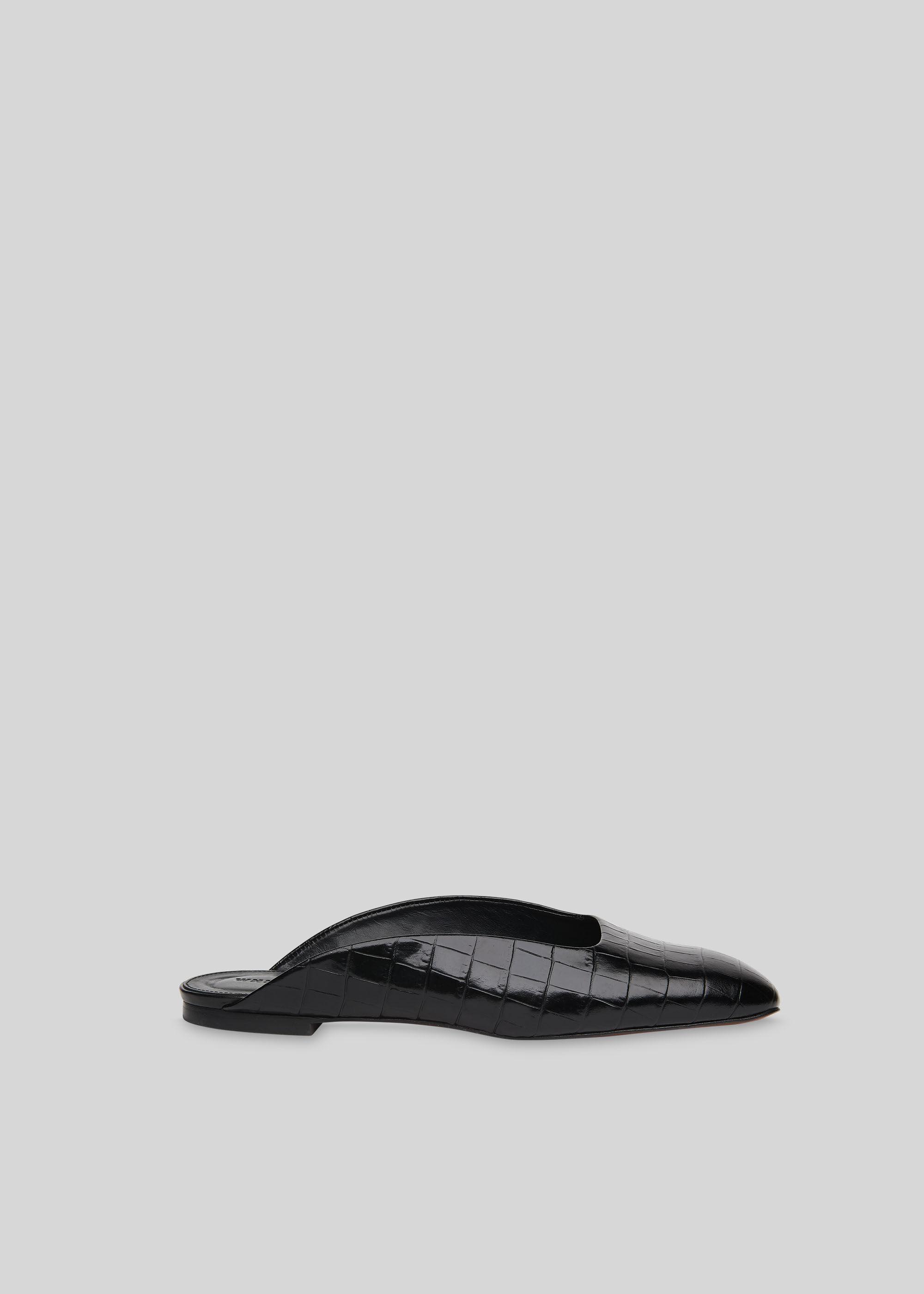 Black Netley Croc Slip On Mule