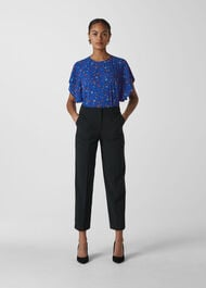 Ditsy Floral Frill Top Blue/Multi