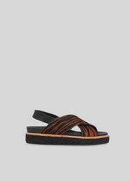 Robyn Tiger Cross Strap Sandal Brown/Multi