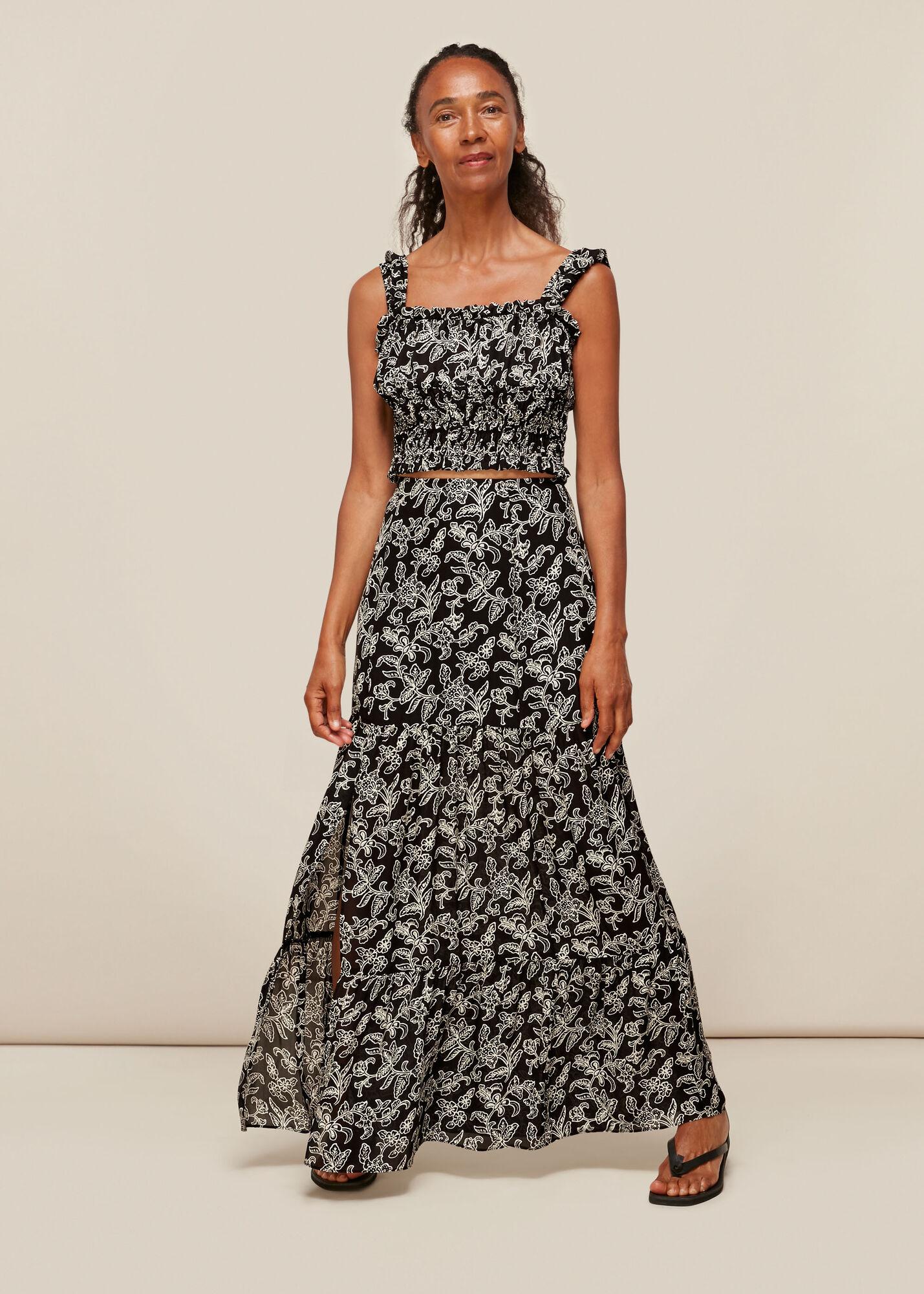 Jasmine Print Silk Skirt