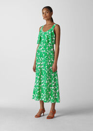 Omana Silk Blossom Dress Green/Multi