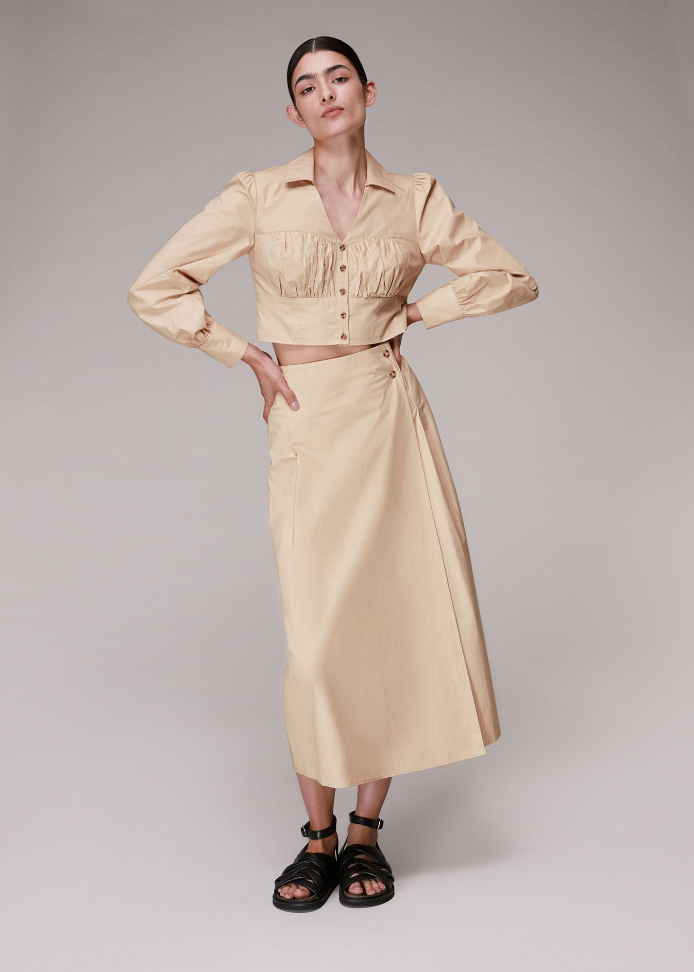 Whistles Women Izzy Poplin Midi Skirt