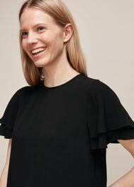 Frill Sleeve Shell Top Black