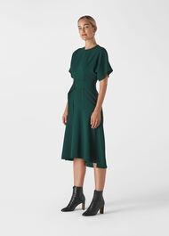 Textured Belted Midi Dress Green