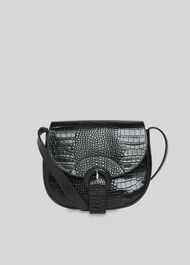 Leon Croc Saddle Bag Black