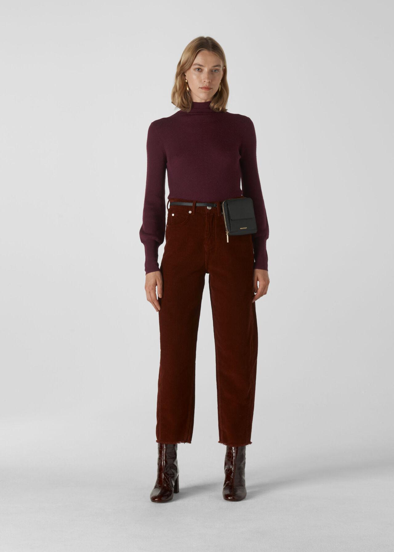 Merino Wool Roll Neck Knit Burgundy
