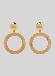 Engraved Circle Earring Gold/Multi