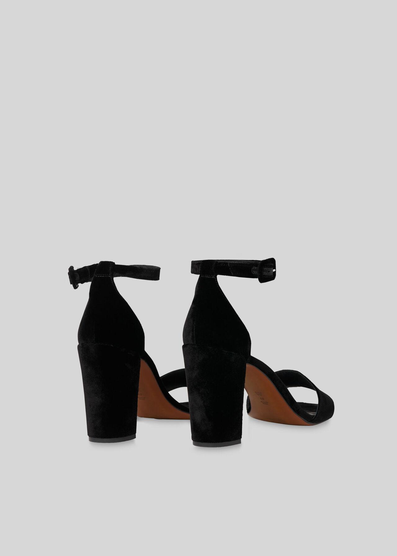 Alba Velvet Block Heel Sandal Black
