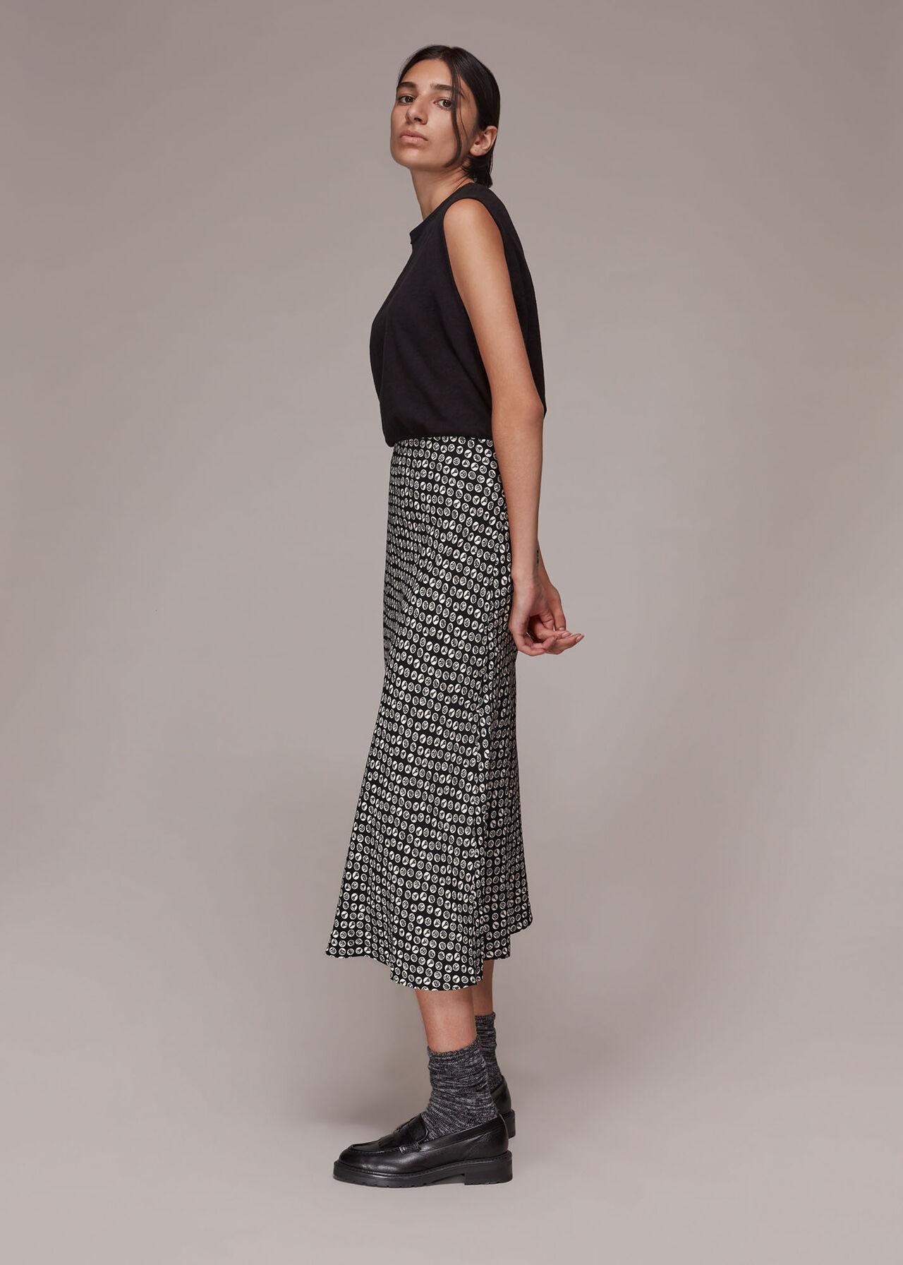 Landmark Print Bias Cut Skirt