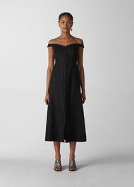 Arian Corset Bardot Dress Black