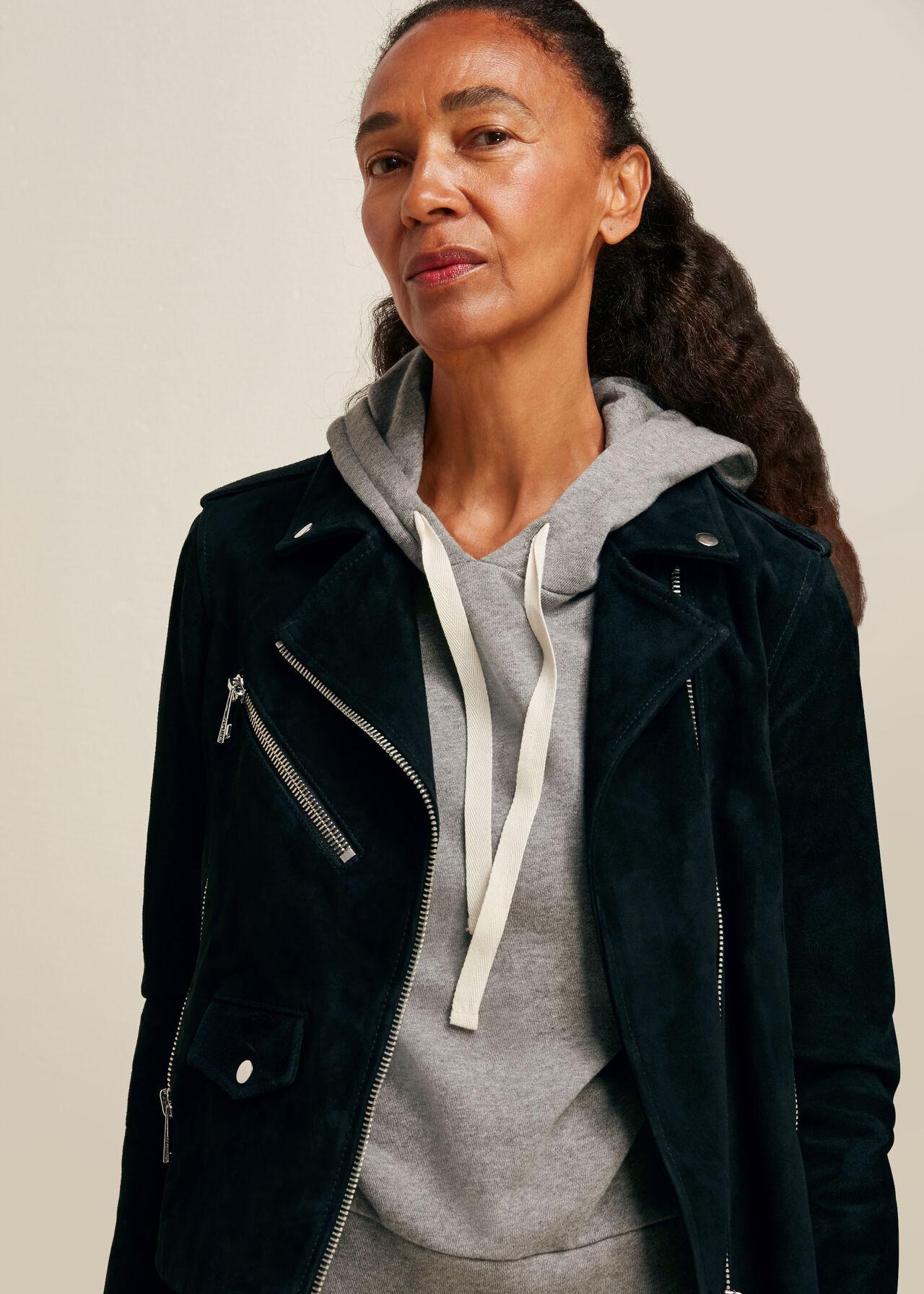 Suede Agnes Leather Jacket Black