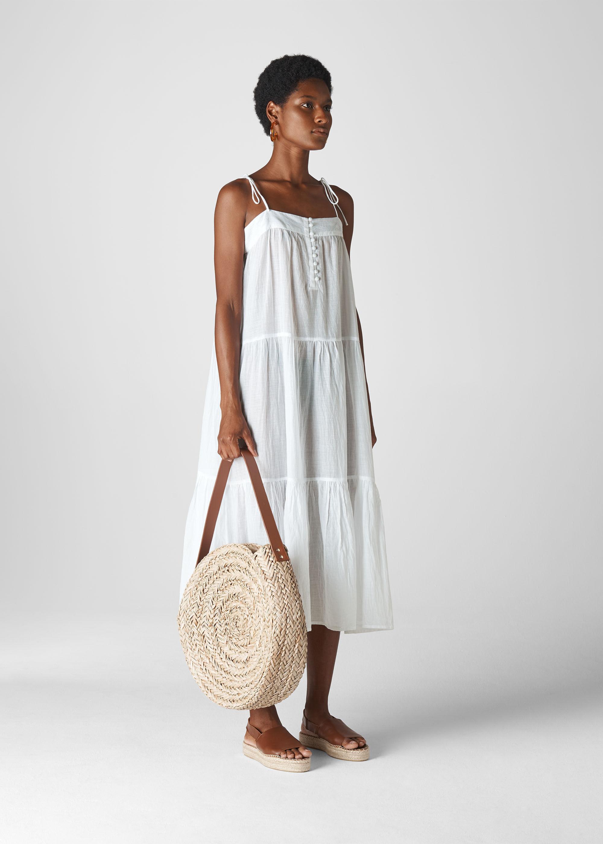 white midi beach dress