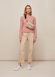 Puff Sleeve Merino Wool Knit Pale Pink