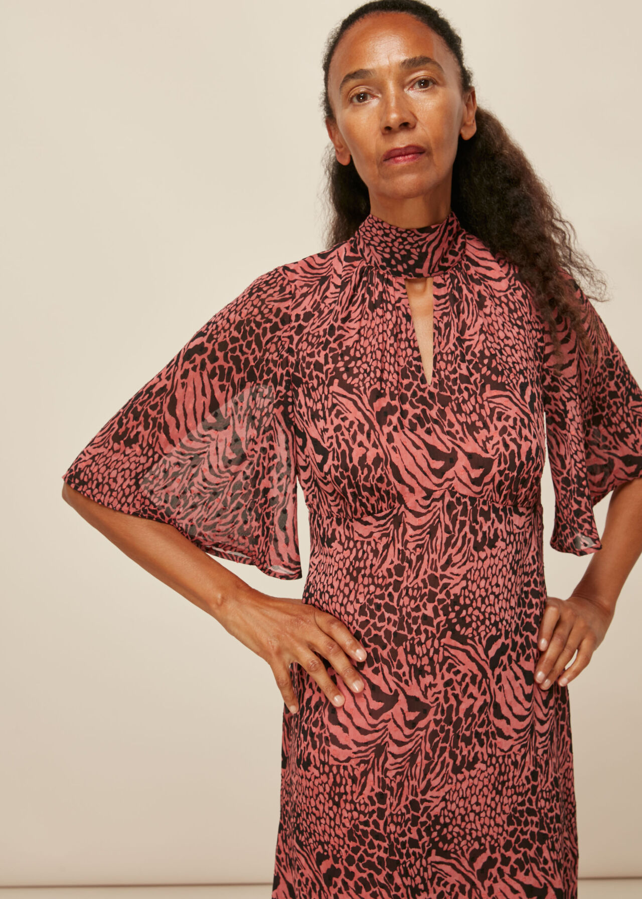 Desert Zebra Print Midi Dress