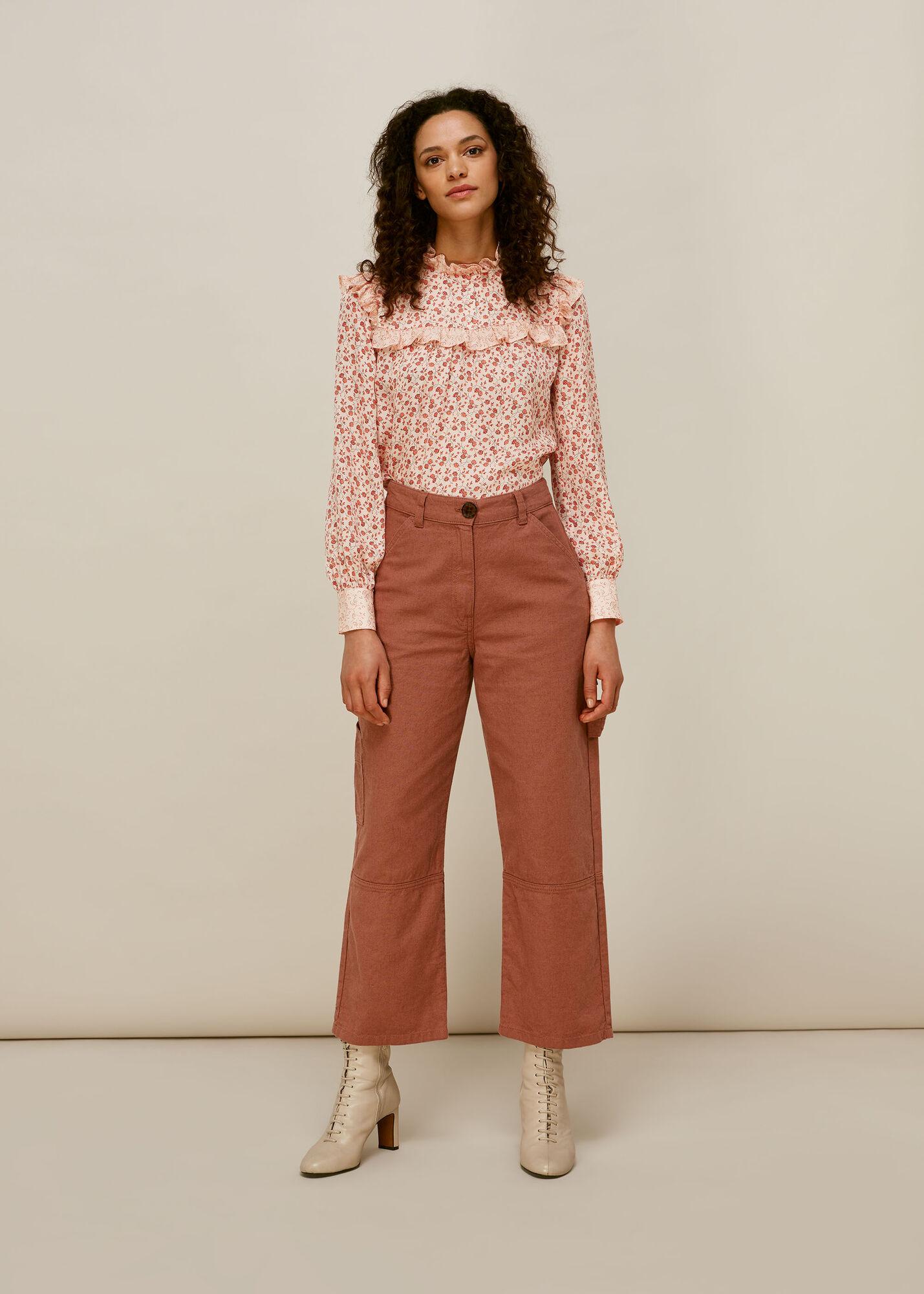 Flower Berry Print Silk Top
