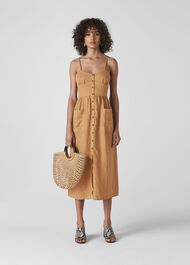 Milana Tie Back Linen Dress Toffee