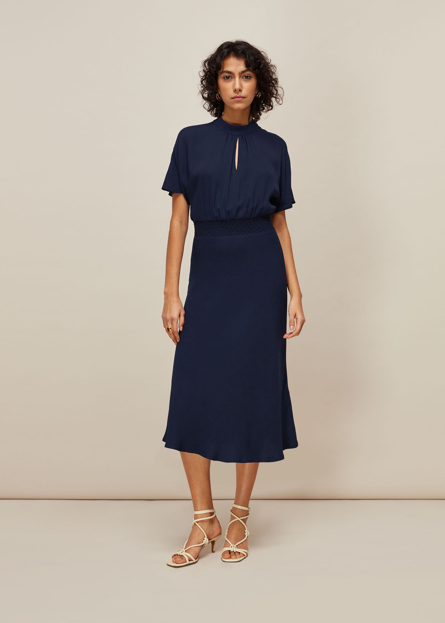 Shirred Waist Midi Dress
