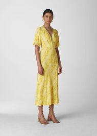 Python Print Midi Dress Yellow/Multi