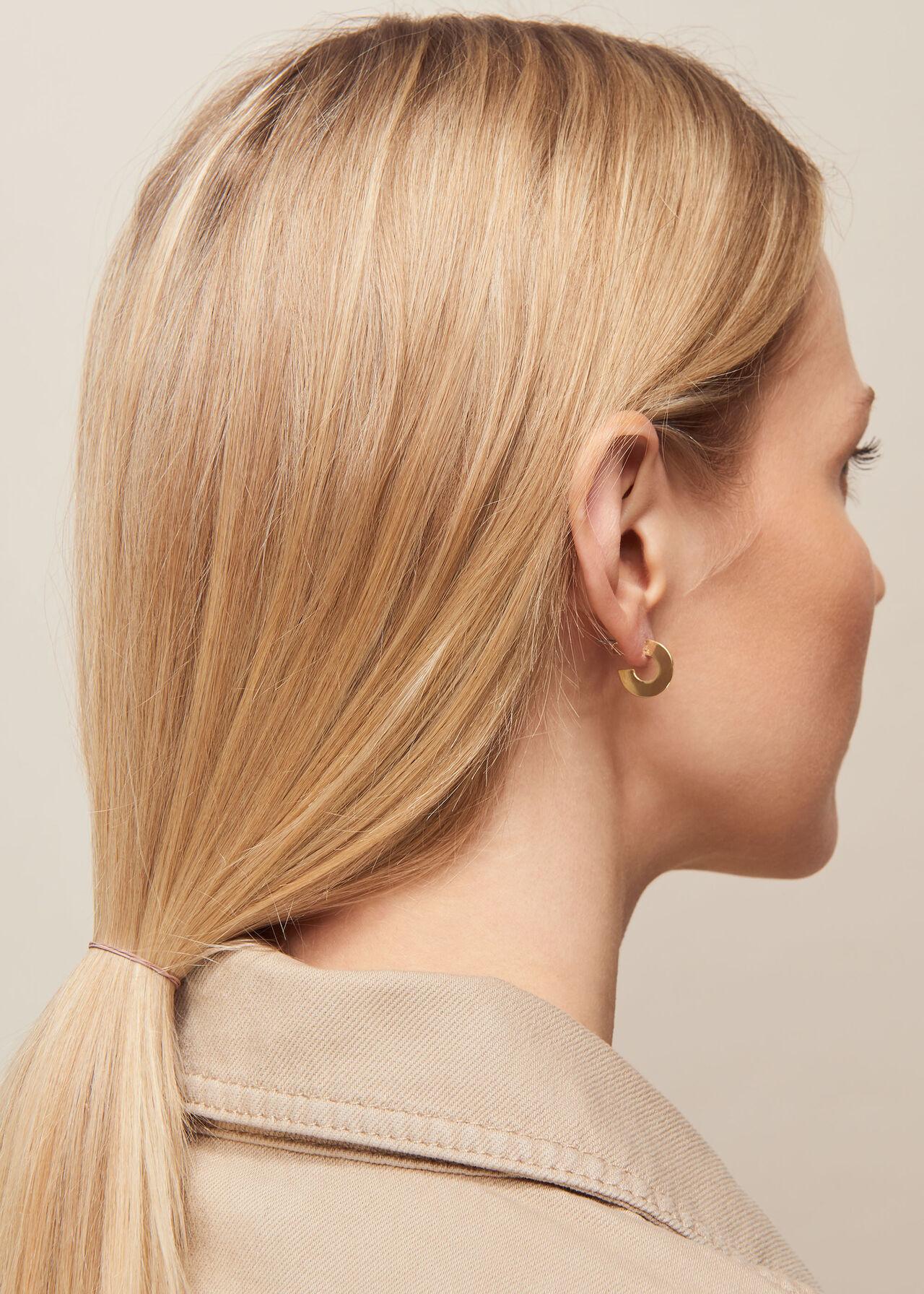 Mini Flat Disc Hoop Earring Gold/Multi