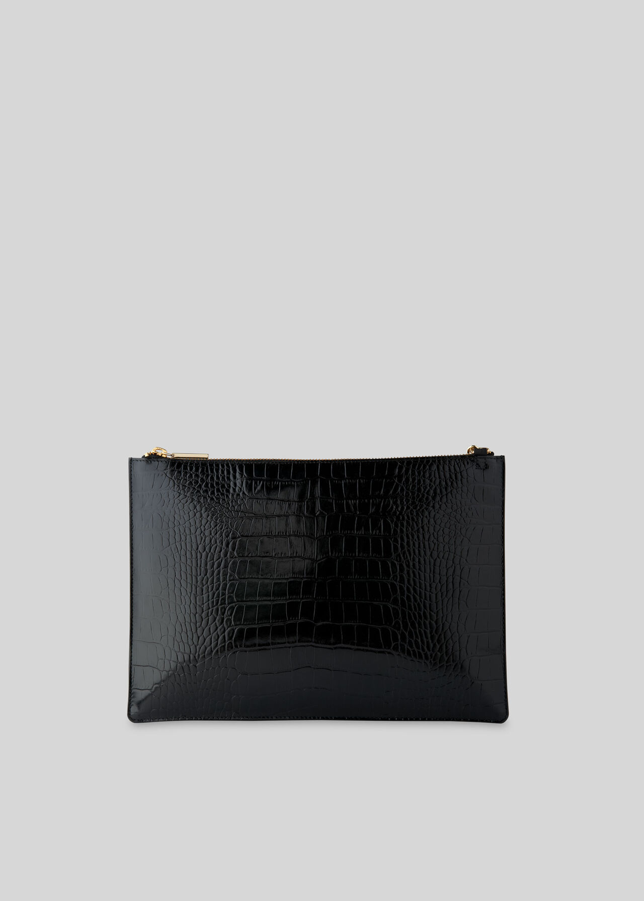 Shiny Croc Rivington Clutch Black