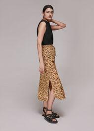 Bark Print Tie Waist Skirt
