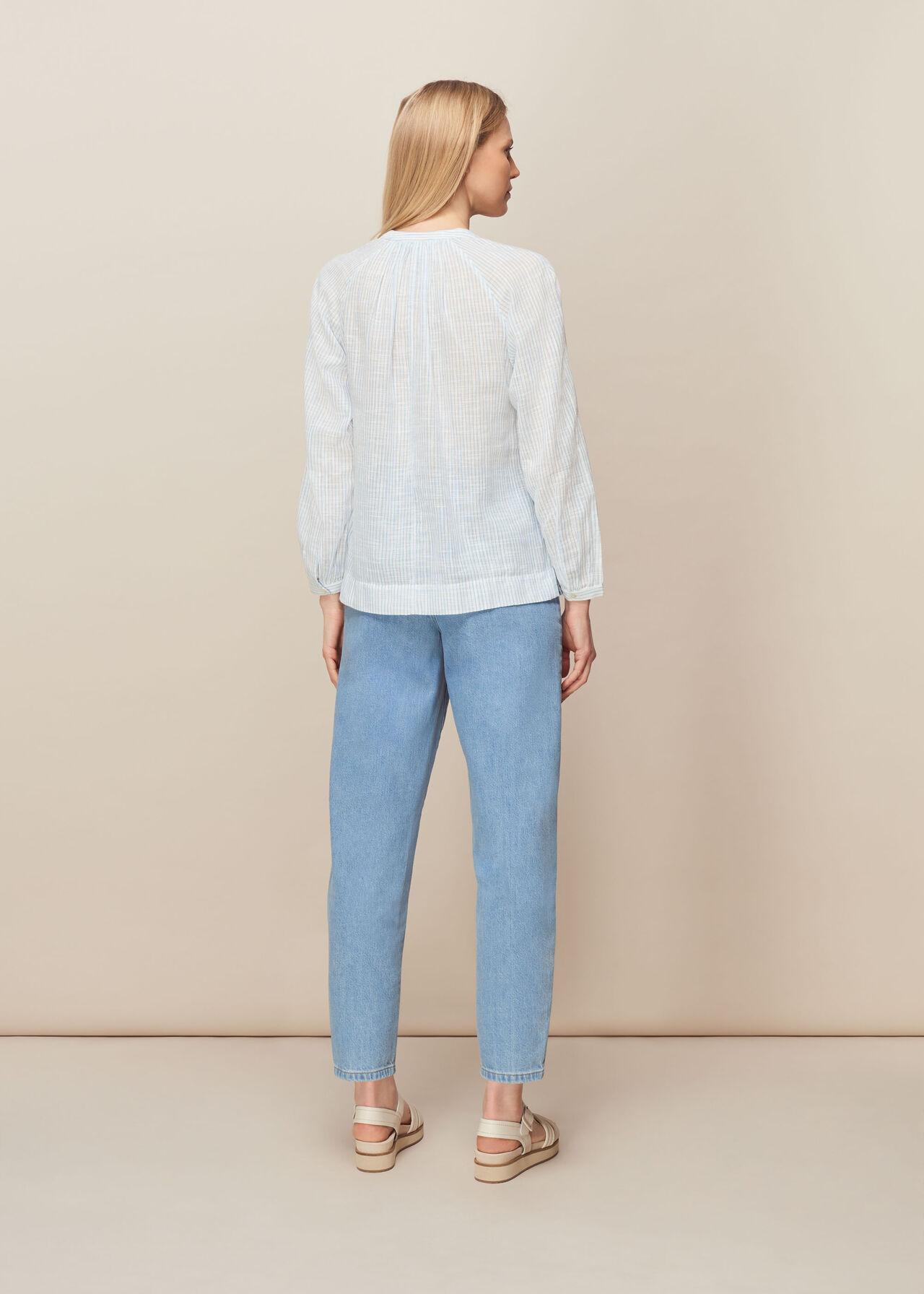 Stripe Cotton Voile Blouse Blue/Multi