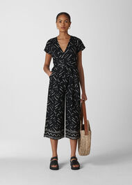 Kuba Print Etta Linen Jumpsuit Black and White