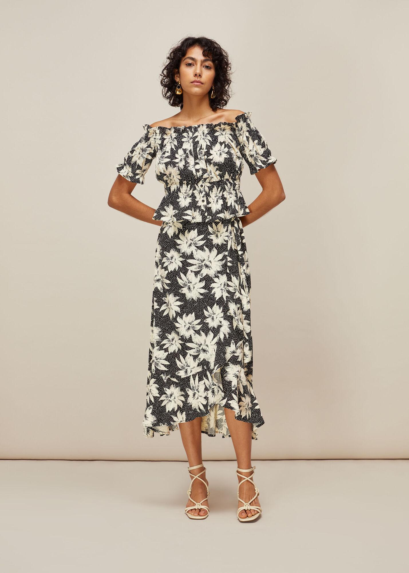 Starburst Floral Wrap Skirt