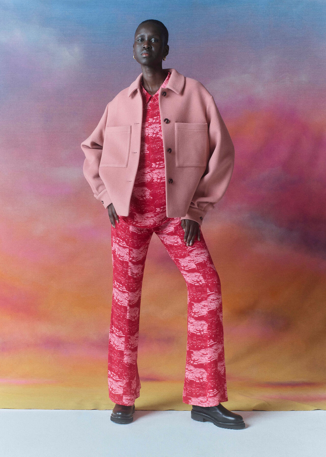 Field Print Flared Trousers