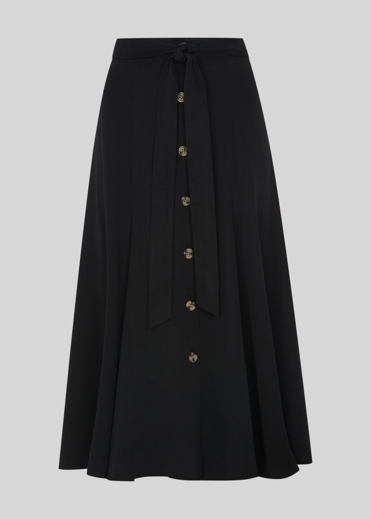 Marissa Button Through Skirt Black