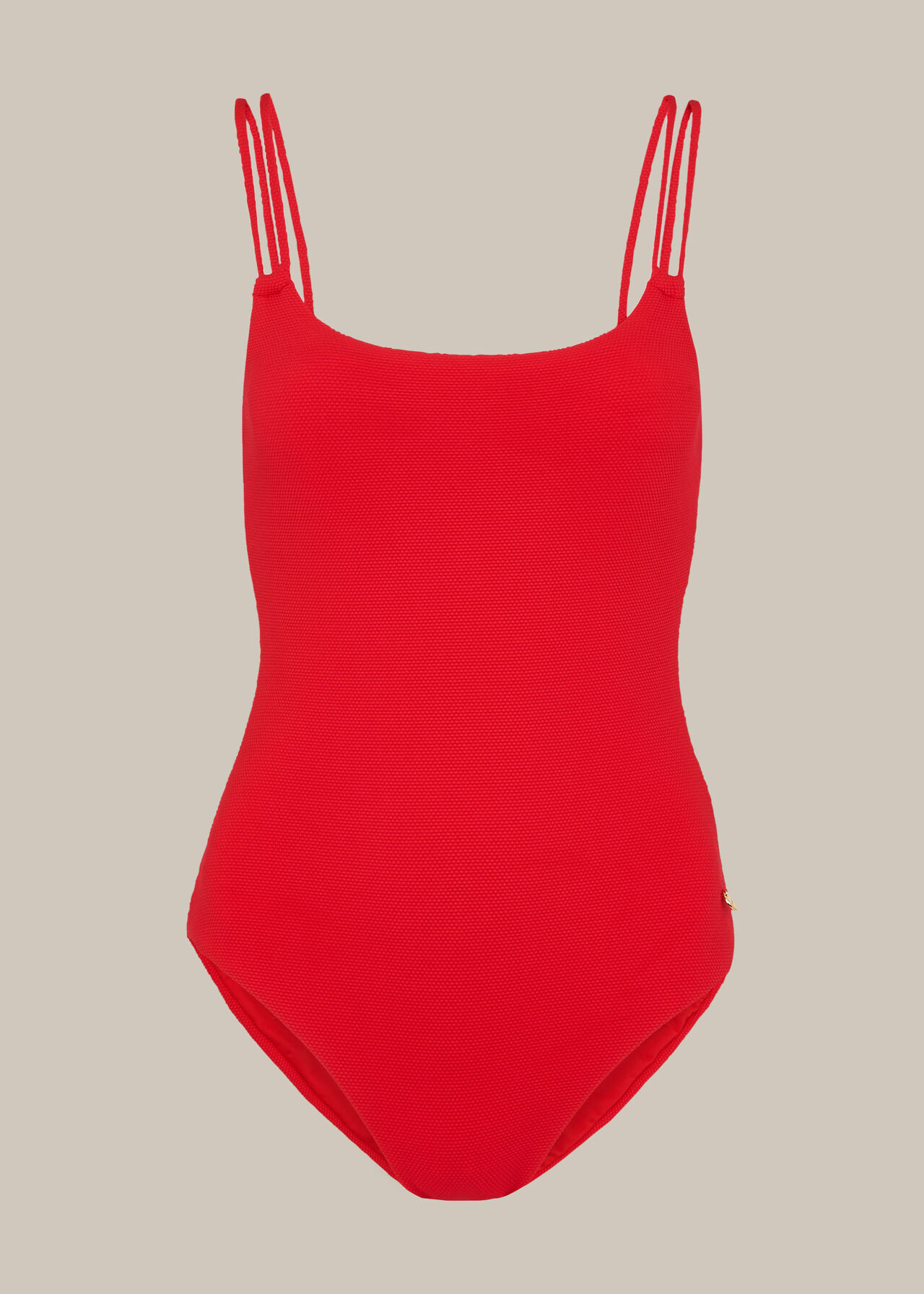 Double Strap Textured Swimsuit Red