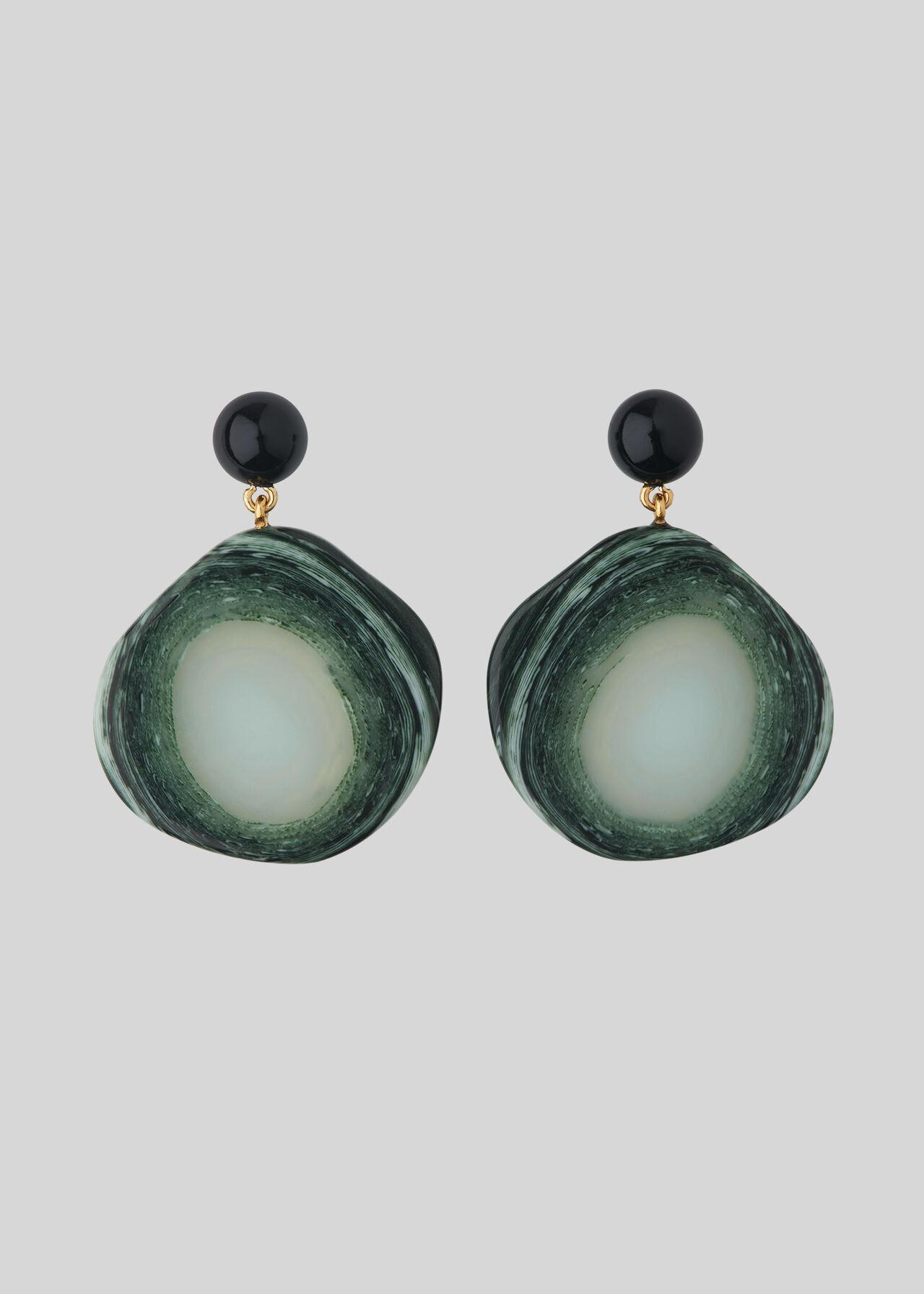 Stone Effect Resin Earring Green/Multi