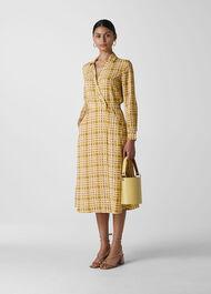 Painted Check Wrap Shirt Dress Yellow/Multi