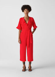 Alma Frill Jumpsuit Red
