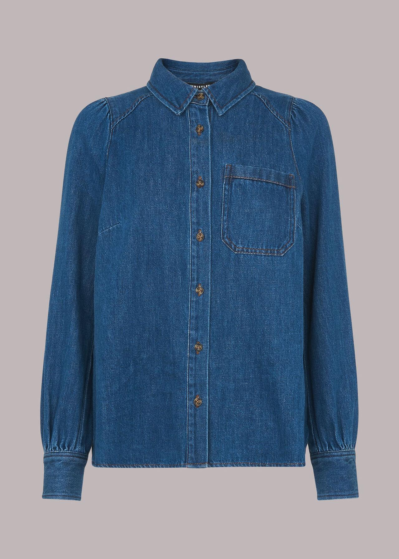 Puff Sleeve Detail Denim Shirt