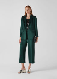 Satin Cropped Trouser Dark Green