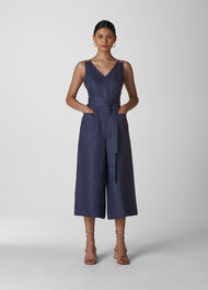 Alpha Strappy Linen Jumpsuit Denim
