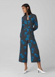 Kira Spot Floral Silk Jumpsuit