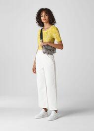 Python Print Rosa T-Shirt Yellow/Multi