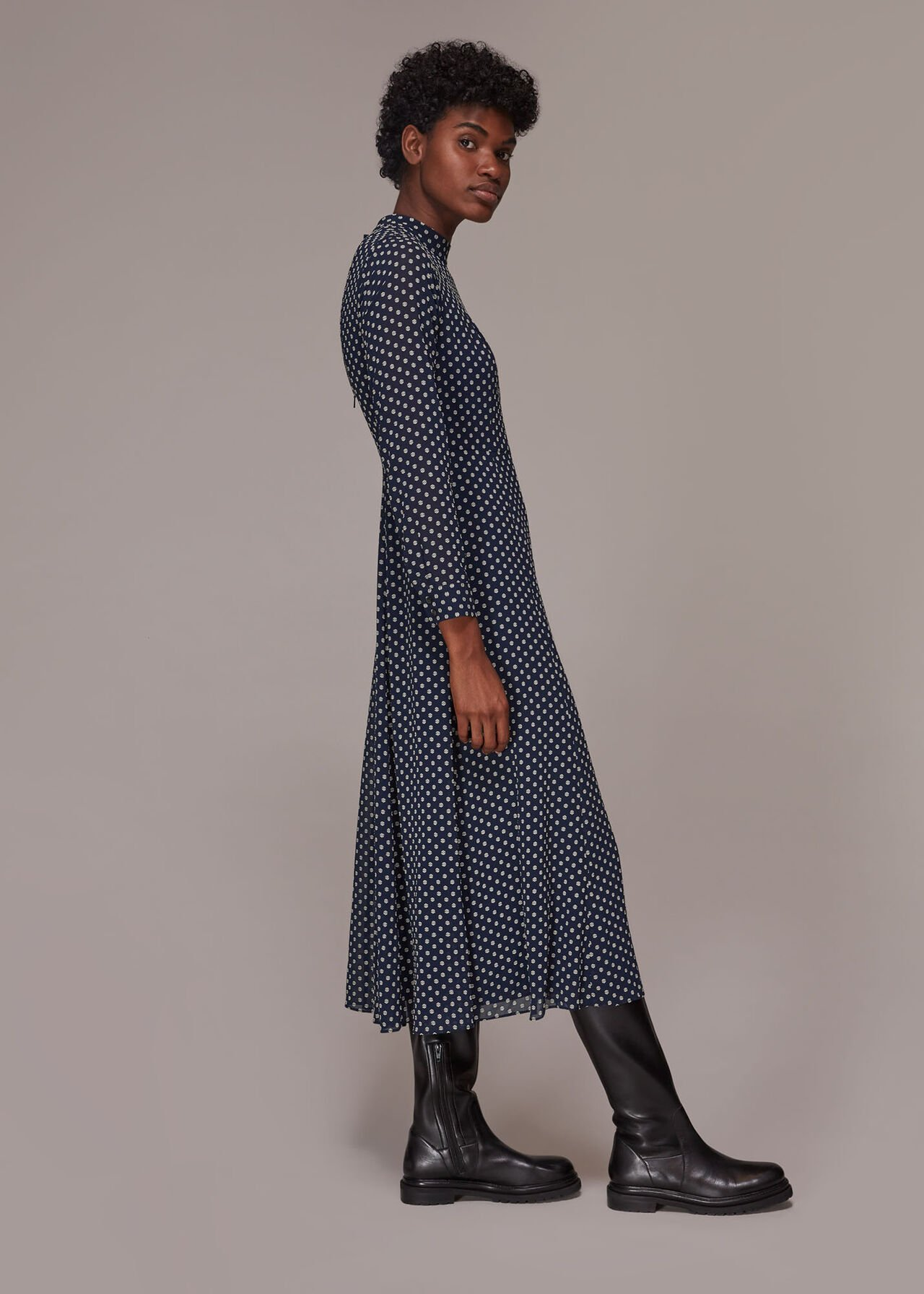 Dobby High Neck Dress