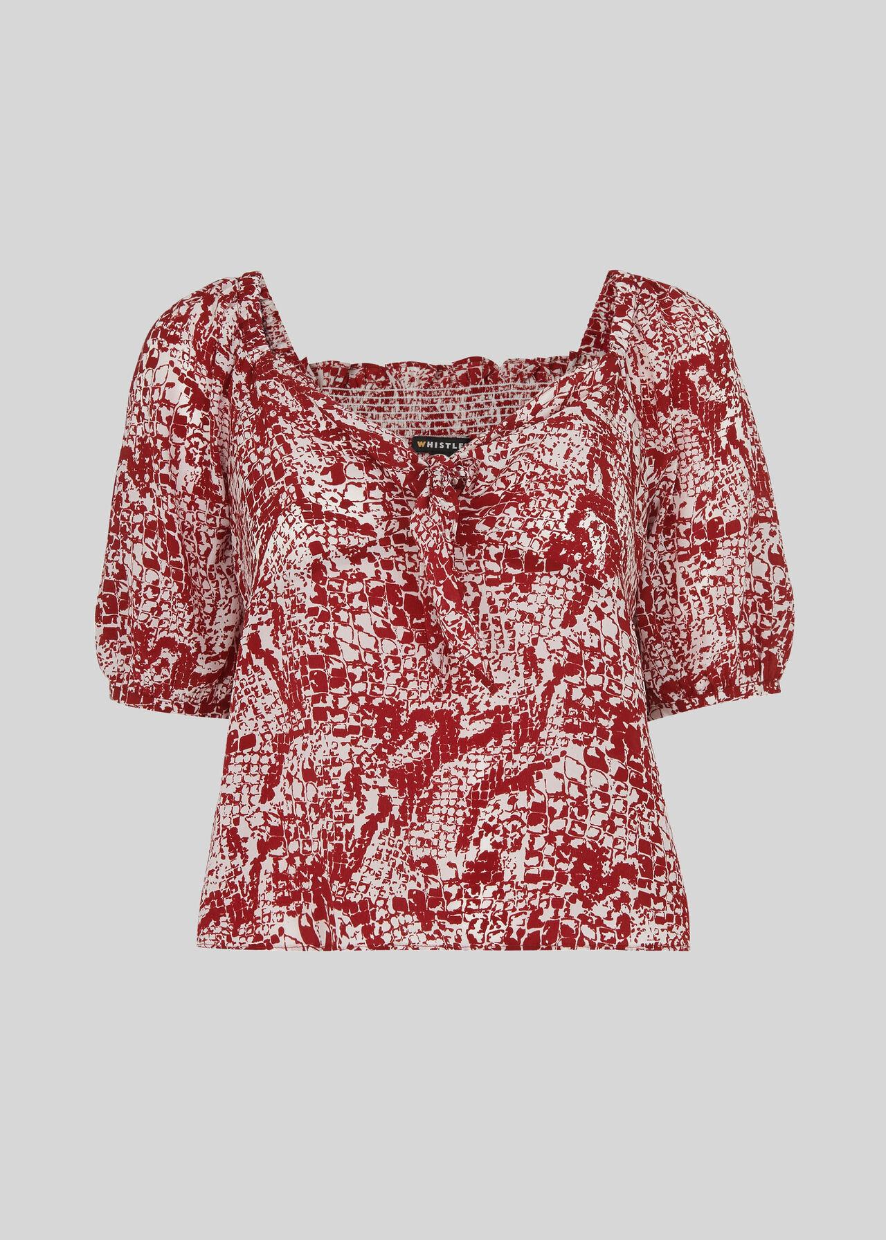 Snake Print Silk Top Red/Multi