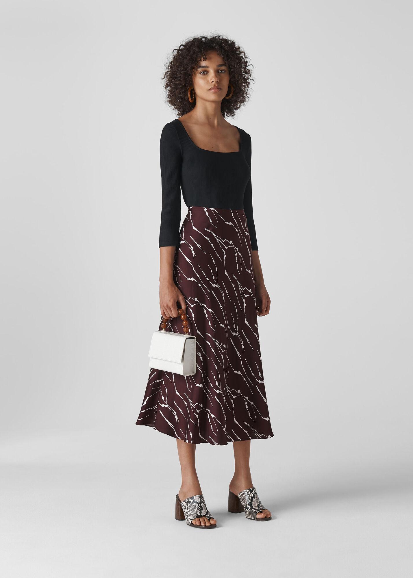 Twig Print Bias Cut Skirt