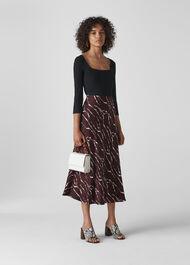 Twig Print Bias Cut Skirt Burgundy