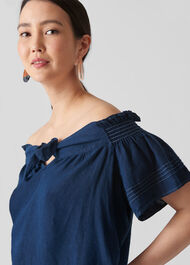 Tie Front Bardot Linen Top