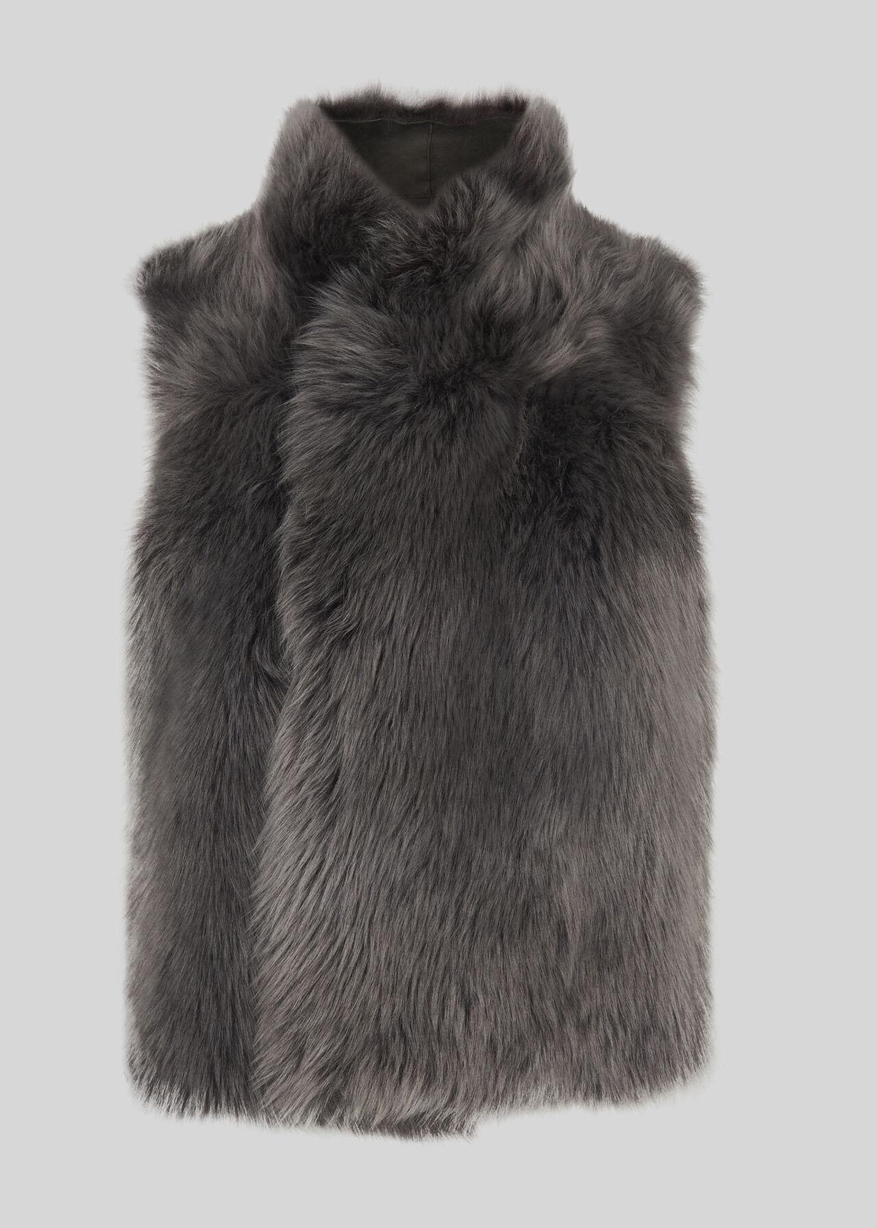 Sheepskin Reversible Gilet Grey