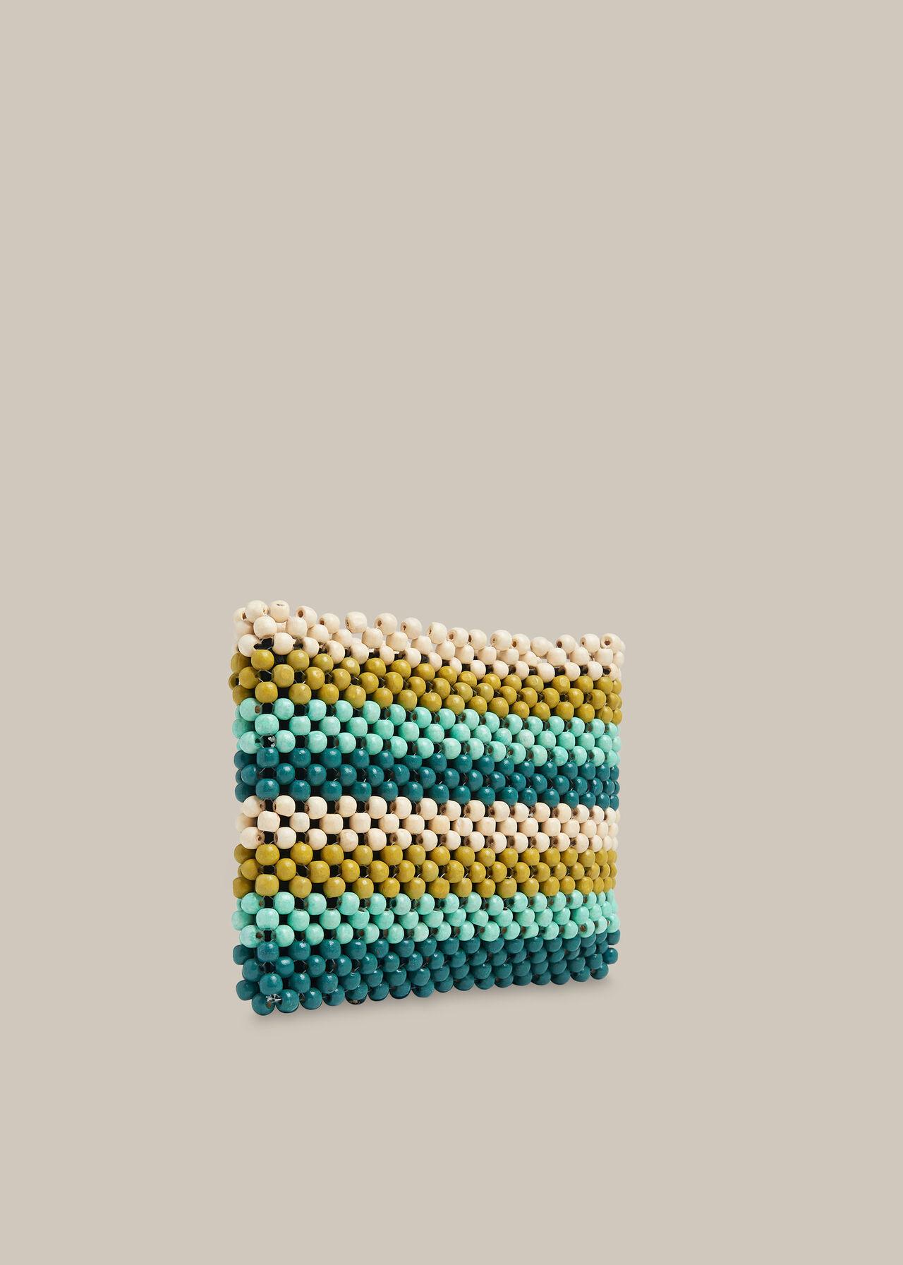 Safah Striped Beaded Clutch Green