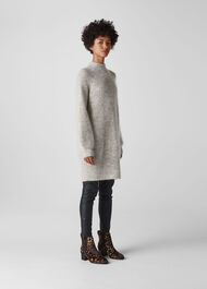 Mohair Funnel Neck Tunic Grey Marl